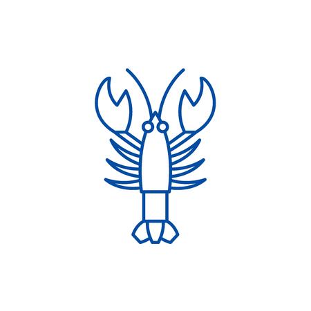 Crayfish line concept icon. Crayfish flat  vector website sign, outline symbol, illustration. Illustration