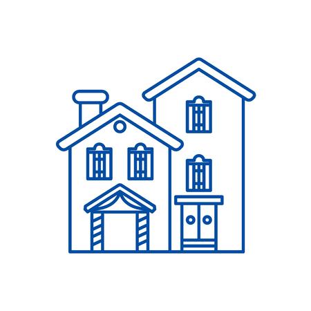 Icône de concept de ligne villa pays. Maison de campagne vecteur télévision signe site Web, symbole du contour, illustration.