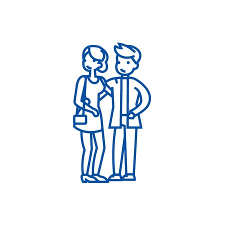 Couple in love, happy party line concept icon. Couple in love, happy party flat  vector website sign, outline symbol, illustration.
