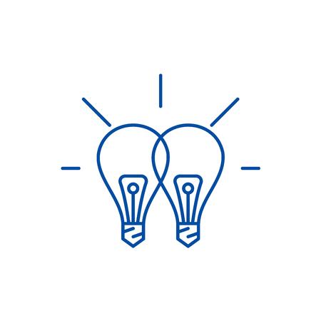Icono de concepto de línea de sinergia creativa. Sinergia creativa sitio web vector plano signo, símbolo de contorno, ilustración.