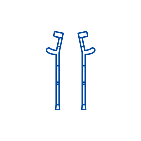 Crutches line concept icon. Crutches flat  vector website sign, outline symbol, illustration.
