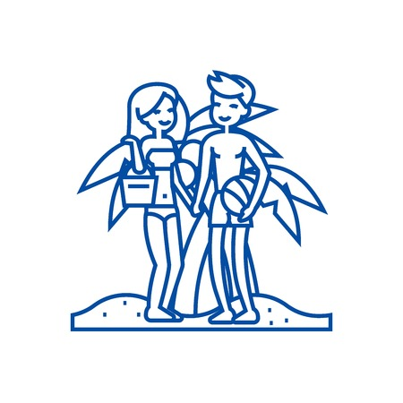 Couple on beach,summer  line concept icon. Couple on beach,summer  flat  vector website sign, outline symbol, illustration. Illustration