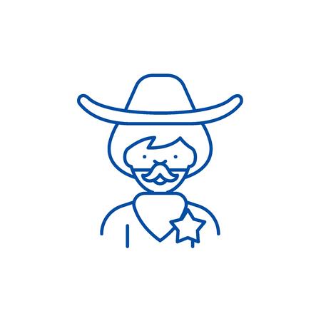 Cowboy line concept icon. Cowboy flat  vector website sign, outline symbol, illustration. Banque d'images - 119728028