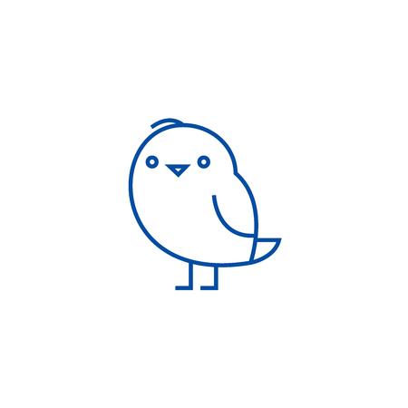 Cute chiken  line concept icon. Cute chiken  flat  vector website sign, outline symbol, illustration.