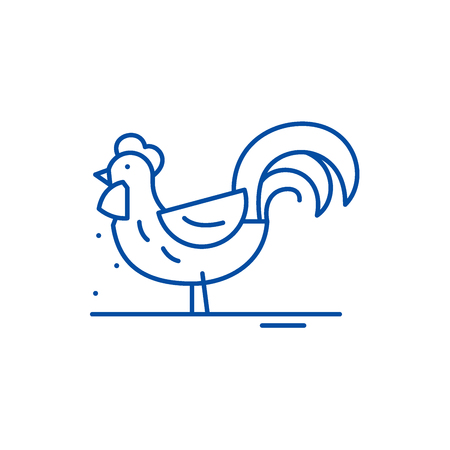 Cute cock line concept icon. Cute cock flat  vector website sign, outline symbol, illustration.
