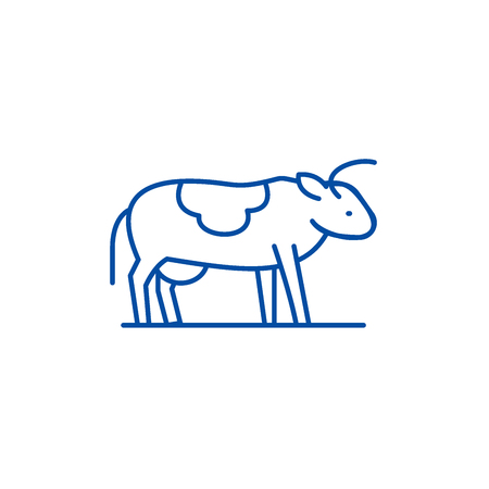 Cute cow line concept icon. Cute cow flat  vector website sign, outline symbol, illustration.