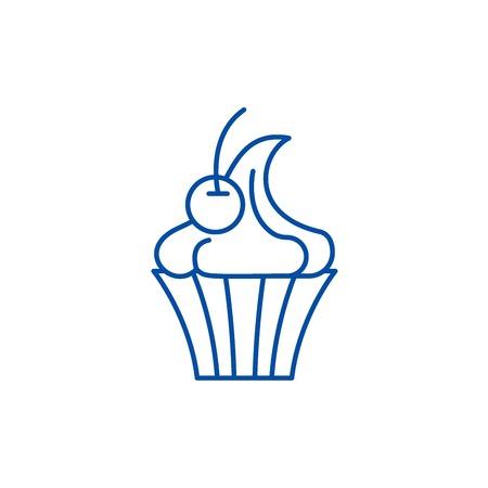 Creme brulee line concept icon. Creme brulee flat  vector website sign, outline symbol, illustration.
