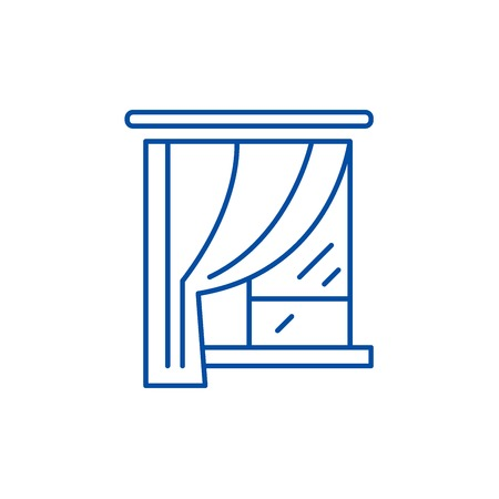 Curtains line concept icon. Curtains flat  vector website sign, outline symbol, illustration.