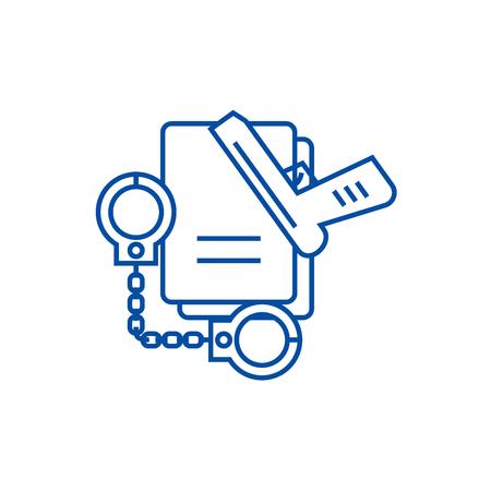 Criminal  line concept icon. Criminal  flat  vector website sign, outline symbol, illustration. Illustration