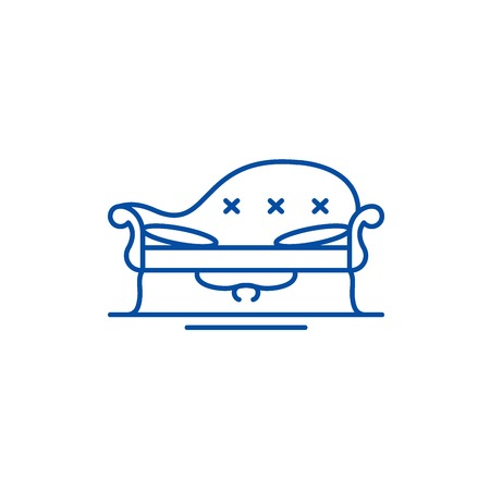 Couch line concept icon. Couch flat  vector website sign, outline symbol, illustration. 일러스트
