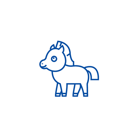 Cute foal horse line concept icon. Cute foal horse flat  vector website sign, outline symbol, illustration. Imagens - 119728105