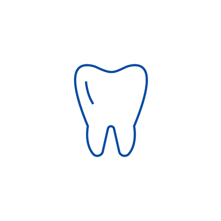 Cute tooth line concept icon. Cute tooth flat  vector website sign, outline symbol, illustration.