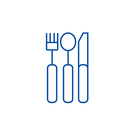 Cutlery line concept icon. Cutlery flat  vector website sign, outline symbol, illustration.