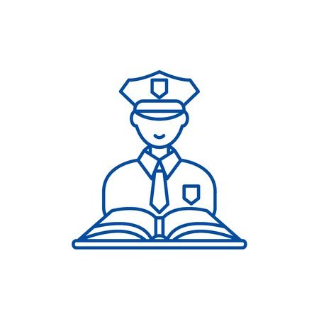 Criminal law line concept icon. Criminal law flat  vector website sign, outline symbol, illustration.