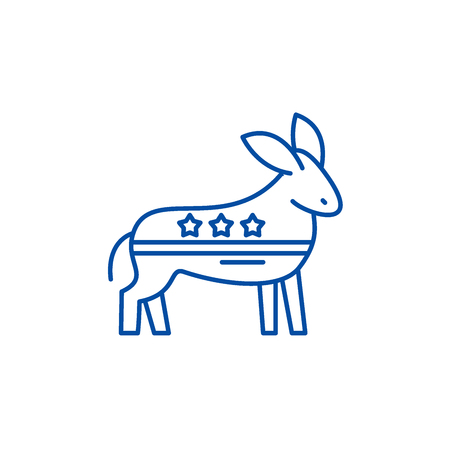 Democratic ass line concept icon. Democratic ass flat  vector website sign, outline symbol, illustration.