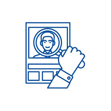 Cv,human resources,personal line concept icon. Cv,human resources,personal flat  vector website sign, outline symbol, illustration. Illustration