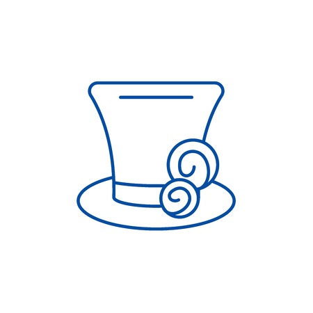 Cylinder hat line concept icon. Cylinder hat flat  vector website sign, outline symbol, illustration. Illustration