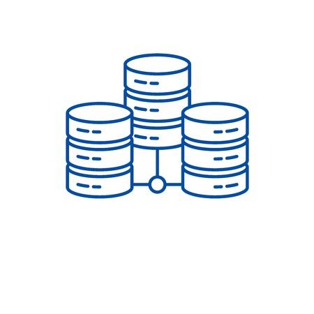 Data center line concept icon. Data center flat  vector website sign, outline symbol, illustration. Illustration