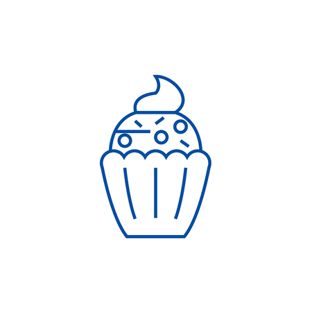 Cupcake line concept icon. Cupcake flat  vector website sign, outline symbol, illustration.