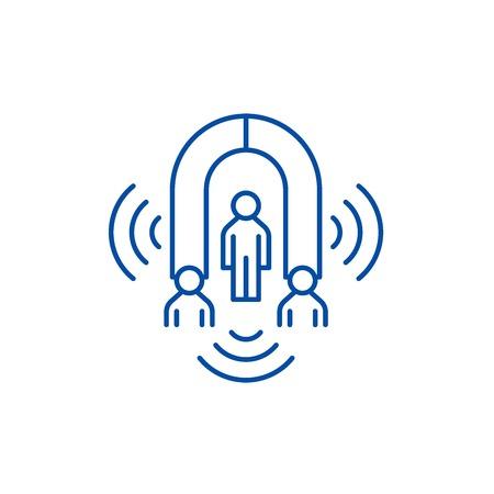Customer marketing line concept icon. Customer marketing flat  vector website sign, outline symbol, illustration.