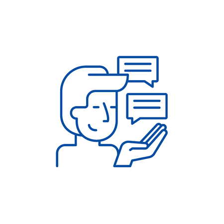 Customer research line concept icon. Customer research flat  vector website sign, outline symbol, illustration.