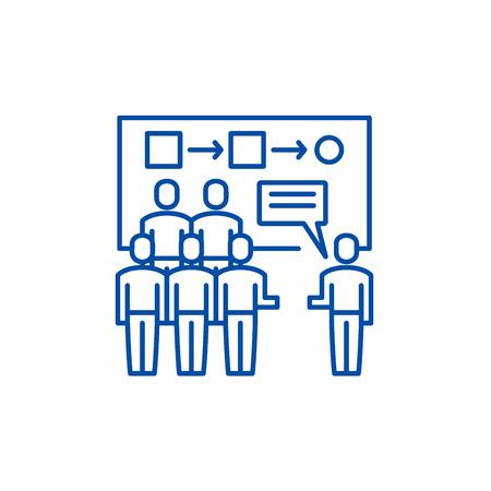 Customer segmentation line concept icon. Customer segmentation flat  vector website sign, outline symbol, illustration.