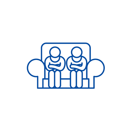 Customer service line concept icon. Customer service flat  vector website sign, outline symbol, illustration.