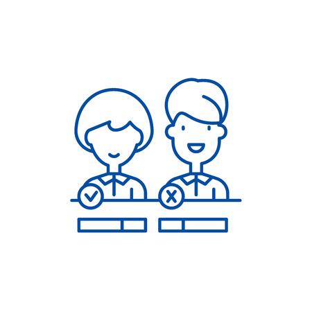 Customer status line concept icon. Customer status flat  vector website sign, outline symbol, illustration.