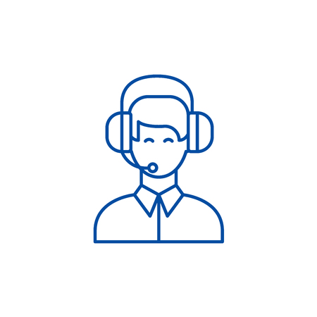 Customer support line concept icon. Customer support flat  vector website sign, outline symbol, illustration. Vettoriali