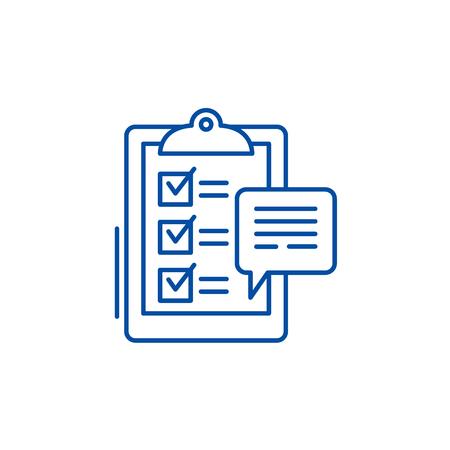 Customer surveys line concept icon. Customer surveys flat  vector website sign, outline symbol, illustration.