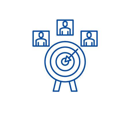 Customer targeting line concept icon. Customer targeting flat  vector website sign, outline symbol, illustration.