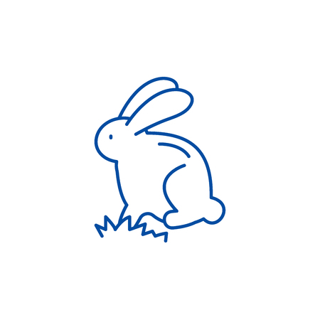 Cute easter bunny line concept icon. Cute easter bunny flat  vector website sign, outline symbol, illustration. Stock Illustratie