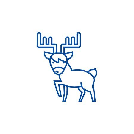 Cute elk line concept icon. Cute elk flat  vector website sign, outline symbol, illustration.