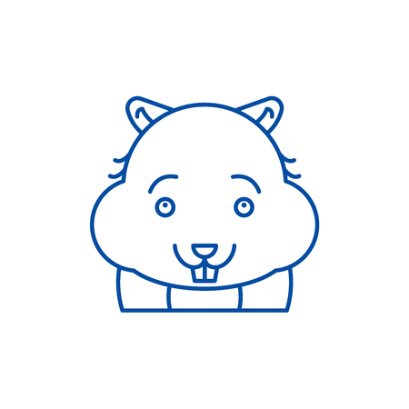 Cute hamster line concept icon. Cute hamster flat  vector website sign, outline symbol, illustration. Illustration