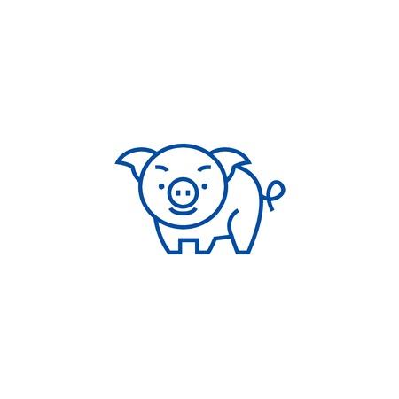 Cute pig line concept icon. Cute pig flat  vector website sign, outline symbol, illustration. Illustration