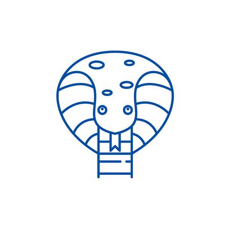 Cute snake line concept icon. Cute snake flat  vector website sign, outline symbol, illustration.