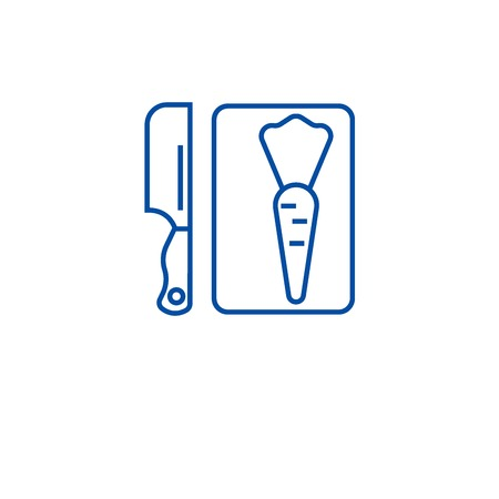 Cutting board line concept icon. Cutting board flat  vector website sign, outline symbol, illustration.