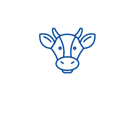Dairy products, cow head line concept icon. Dairy products, cow head flat  vector website sign, outline symbol, illustration.