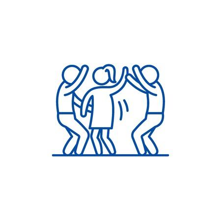 Icône de concept de ligne de soirée dansante. Party de danse vector plate signe site Web, symbole du contour, illustration.