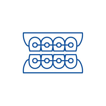 Dantist braces line concept icon. Dantist braces flat  vector website sign, outline symbol, illustration. Illustration