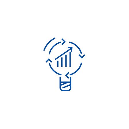 Data insight, idea line concept icon. Data insight, idea flat  vector website sign, outline symbol, illustration.