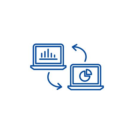 Data update line concept icon. Data update flat  vector website sign, outline symbol, illustration.