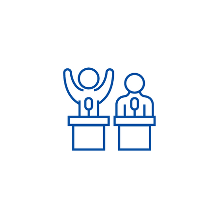 Debates,lecture,cogency,persuasion line concept icon. Debates,lecture,cogency,persuasion flat vector website sign, outline symbol, illustration.