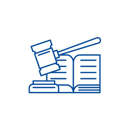 Decision line concept icon. Decision flat  vector website sign, outline symbol, illustration. Иллюстрация