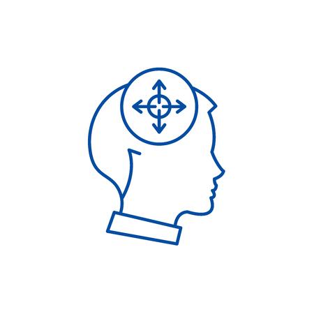 Decision making line concept icon. Decision making flat  vector website sign, outline symbol, illustration. Çizim