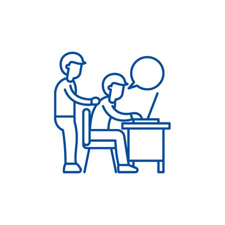 Delegation of work line concept icon. Delegation of work flat  vector website sign, outline symbol, illustration. Banque d'images - 119741486
