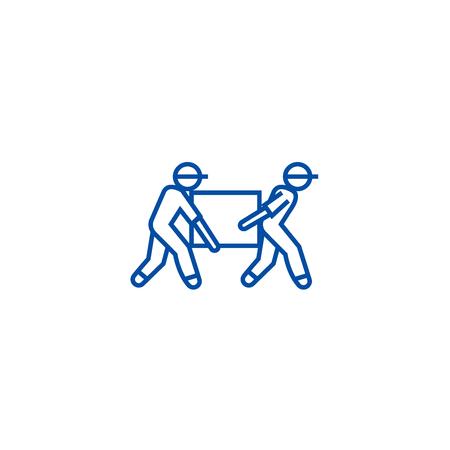 Deliverymen,box taking line concept icon. Deliverymen,box taking flat  vector website sign, outline symbol, illustration.