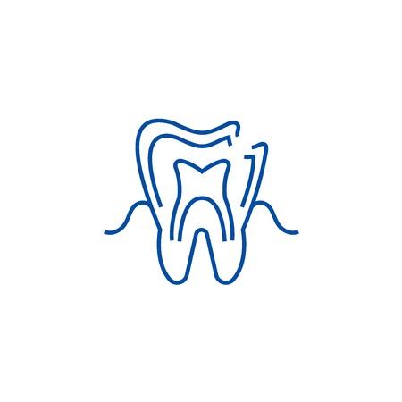 Dental caries line concept icon. Dental caries flat  vector website sign, outline symbol, illustration.