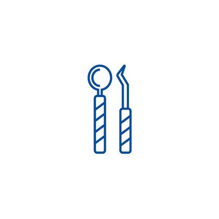 Dentist tools line concept icon. Dentist tools flat  vector website sign, outline symbol, illustration.