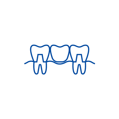 Denture line concept icon. Denture flat  vector website sign, outline symbol, illustration.